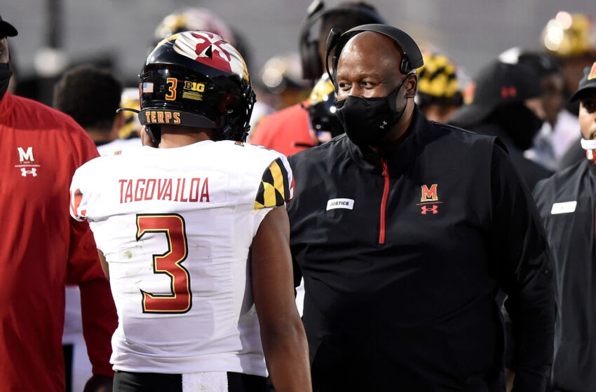 STATE COLLEGE, PA - NOVEMBER 07: Head coach Michael Locksley of the Maryland Terrapins talks with Taulia Tagovailoa #3 during the game against the Penn State Nittany Lions at Beaver Stadium on November 7, 2020 in State College, Pennsylvania. (Photo by G Fiume/Maryland Terrapins/Getty Images)