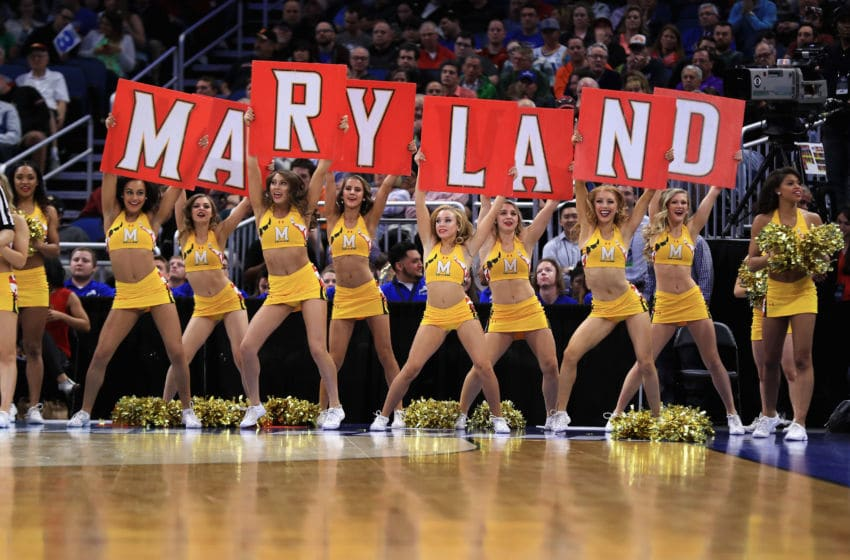 ORLANDO, FL - MARCH 16: Maryland Terrapins cheerleaders perform during the game between the Xavier Musketeers and the Maryland Terrapins in the first round of the 2017 NCAA Men's Basketball Tournament at Amway Center on March 16, 2017 in Orlando, Florida. (Photo by Mike Ehrmann/Getty Images)