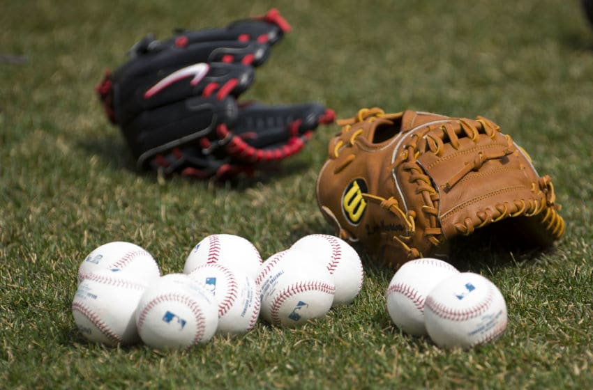 CLEVELAND, OH - APRIL 8: Official major league baseballs lay on the grass next to two gloves prior to the game between the Cleveland Indians and the New York Yankees on opening day at Progressive Field on April 8, 2013 in Cleveland, Ohio. (Photo by Jason Miller/Getty Images)
