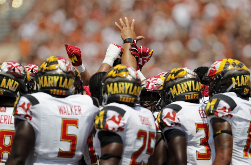 AUSTIN, TX - SEPTEMBER 02: The Maryland Terrapins defensive unit huddles after Antwaine Richardson #20 of the Maryland Terrapins was injured in the third quarter against the Texas Longhorns at Darrell K Royal-Texas Memorial Stadium on September 2, 2017 in Austin, Texas. (Photo by Tim Warner/Getty Images)
