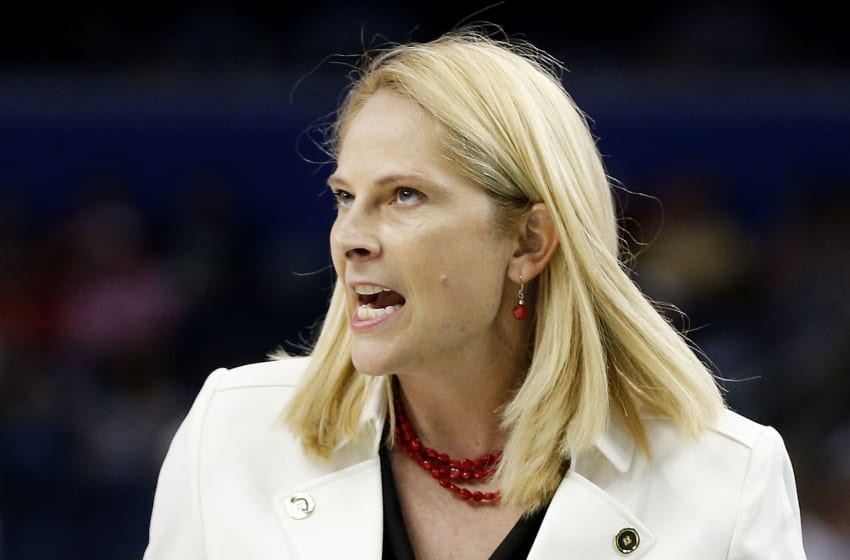TAMPA, FL - APRIL 05: Head coach Brenda Frese of the Maryland Terrapins reacts in the second half against the Connecticut Huskies during the NCAA Women's Final Four Semifinal at Amalie Arena on April 5, 2015 in Tampa, Florida. (Photo by Mike Carlson/Getty Images)