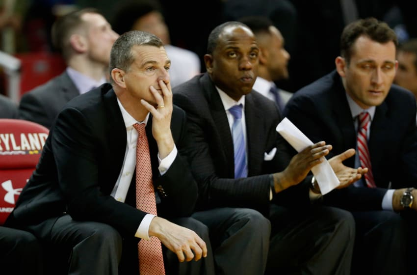 COLLEGE PARK, MD - FEBRUARY 13: Head coach Mark Turgeon of the Maryland Terrapins looks on in the second half against the Wisconsin Badgers at Xfinity Center on February 13, 2016 in College Park, Maryland. Wisconsin won 70-57. (Photo by Rob Carr/Getty Images)