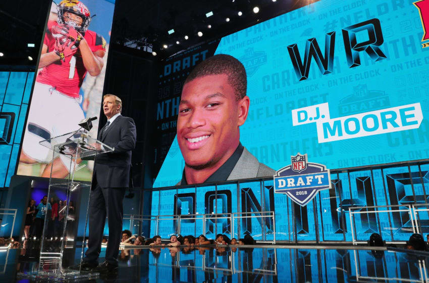 ARLINGTON, TX - APRIL 26: A video board displays an image of D.J. Moore of Maryland after he was picked