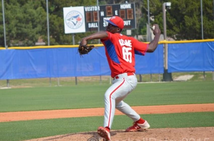 A tall, wiry, 20-year old pitcher out of the Dominican Republic, Franklyn Kilome comes in at #7 on the 2016 TBOH Phillies Top 10 Prospects list. (Photo Credit: Baseball Betsy of https://baseballbetsy.wordpress.com/)
