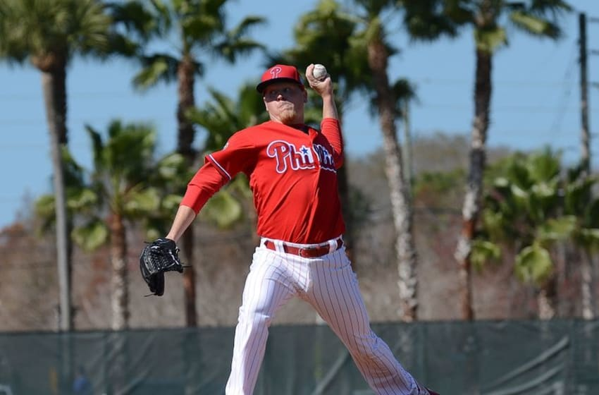 Feb 20, 2016; Clearwater, FL, USA; Philadelphia Phillies pitcher Daniel Stumpf (53) pitches during the workout at Bright House Field. Mandatory Credit: Jonathan Dyer-USA TODAY Sports