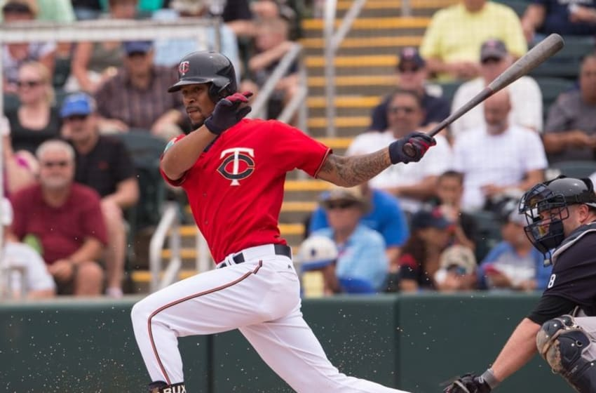Mar 20, 2016; Fort Myers, FL, USA; Minnesota Twins center fielder Byron Buxton (25) bats against the New York Yankees during the game at CenturyLink Sports Complex. The Yankees defeat the Twins 6-4. Mandatory Credit: Jerome Miron-USA TODAY Sports