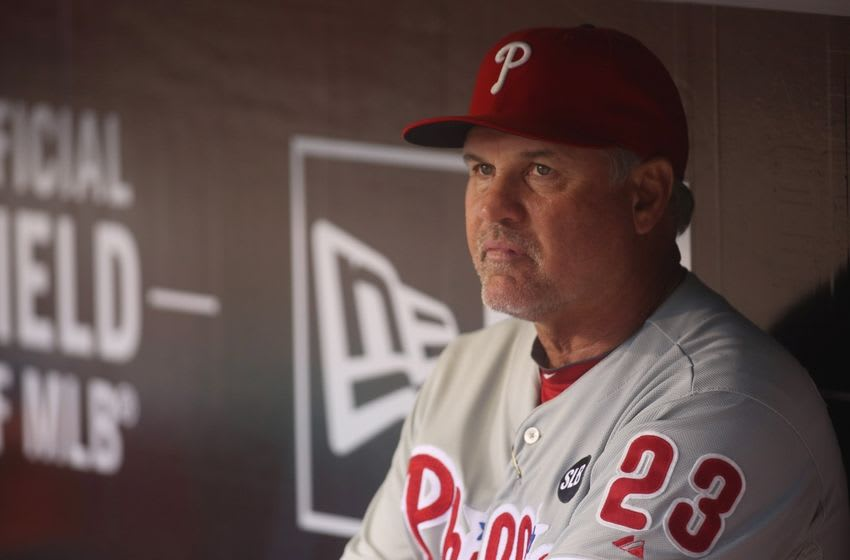 Jun 12, 2015; Pittsburgh, PA, USA; Philadelphia Phillies manager Ryne Sandberg (23) looks on from the dugout against the Pittsburgh Pirates before the first inning at PNC Park. Mandatory Credit: Charles LeClaire-USA TODAY Sports