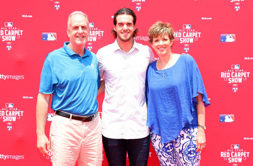 WASHINGTON, DC - JULY 17: Aaron Nola #27 of the Philadelphia Phillies and the National League and guests attend the 89th MLB All-Star Game, presented by MasterCard red carpet at Nationals Park on July 17, 2018 in Washington, DC. (Photo by Patrick Smith/Getty Images)