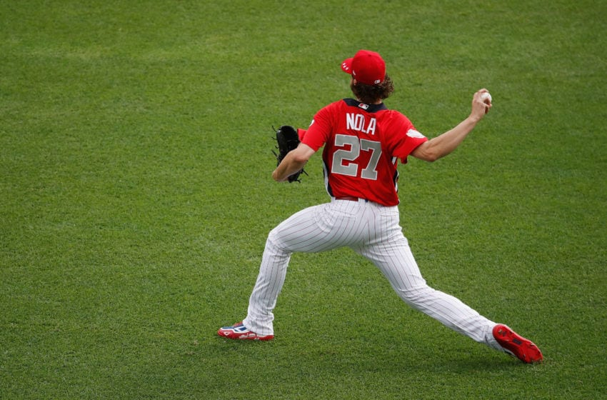 WASHINGTON, DC - JULY 17: Aaron Nola #27 of the Philadelphia Phillies and the National League warms up before the 89th MLB All-Star Game, presented by Mastercard at Nationals Park on July 17, 2018 in Washington, DC. (Photo by Patrick McDermott/Getty Images)
