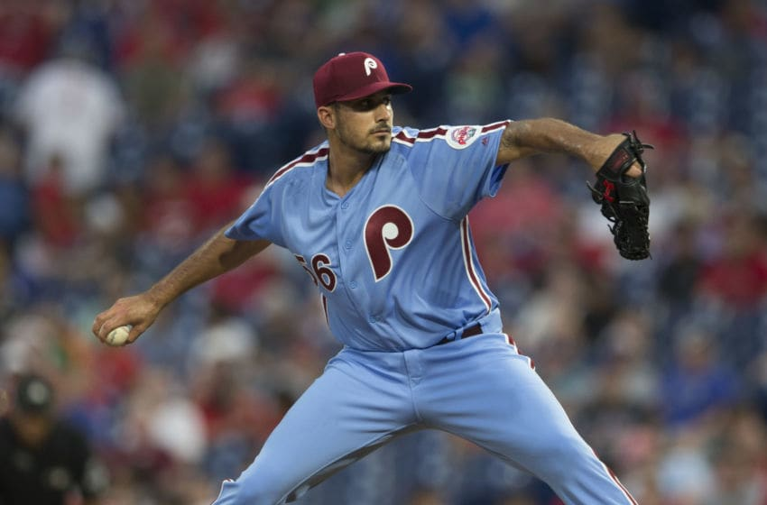 PHILADELPHIA, PA - AUGUST 16: Zach Eflin #56 of the Philadelphia Phillies throws a pitch in the top of the first inning against the New York Mets in game two of the doubleheader at Citizens Bank Park on August 16, 2018 in Philadelphia, Pennsylvania. (Photo by Mitchell Leff/Getty Images)