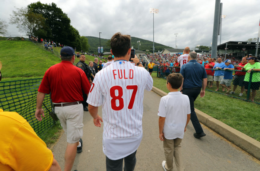 SOUTH WILLIAMSPORT, PA - AUGUST 19: Sam Fuld #87 of the Philadelphia Phillies walks up to Howard J. Lamade Stadium during the 2018 Little League World Series on Sunday, August 19, 2018 in South Williamsport, Pennsylvania. (Photo by Alex Trautwig/MLB via Getty Images)
