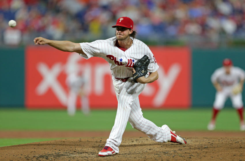 PHILADELPHIA, PA - AUGUST 28: Starting pitcher Aaron Nola #27 of the Philadelphia Phillies delivers a pitch in the third inning during a game against the Washington Nationals at Citizens Bank Park on August 28, 2018 in Philadelphia, Pennsylvania. (Photo by Hunter Martin/Getty Images)