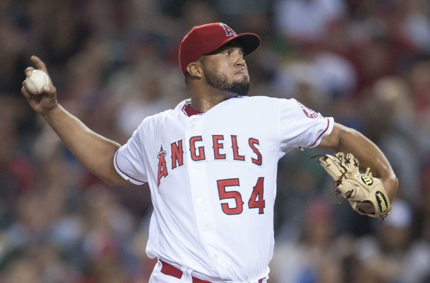 ANAHEIM, CA - JUNE 25: Angels' relief pitcher Deolis Guerra throws to the plate in the sixth inning against the Oakland Athletics' at Angel Stadium on Saturday. ///ADDITIONAL INFO: angels.0626.kjs --- Photo by KEVIN SULLIVAN / Orange County Register -- 6/25/16 The Los Angeles Angels take on the Oakland Athletics Saturday at Angel Stadium. 6/25/16 (Photo by Kevin Sullivan/Digital First Media/Orange County Register via Getty Images)
