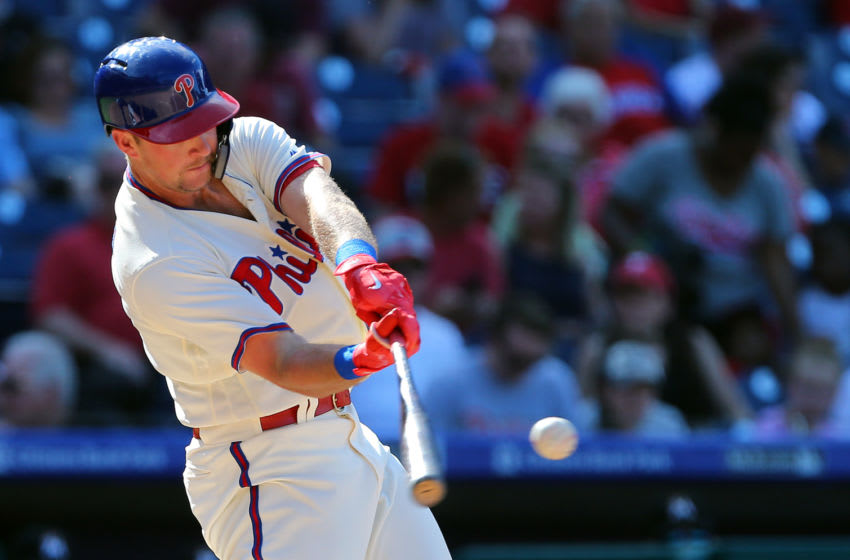 PHILADELPHIA, PA - SEPTEMBER 16: Rhys Hoskins #17 of the Philadelphia Phillies hits a double against the Miami Marlins during the sixth inning of a game at Citizens Bank Park on September 16, 2018 in Philadelphia, Pennsylvania. The Marlins defeated the Phillies 6-4. (Photo by Rich Schultz/Getty Images)