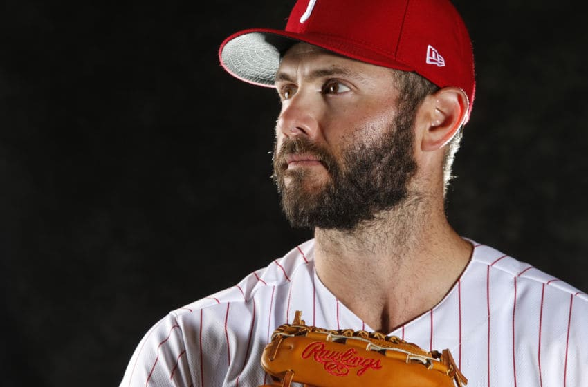 CLEARWATER, FL - FEBRUARY 19: Jake Arrieta #49 of the Philadelphia Phillies poses for a photo during the Phillies' photo day on February 19, 2019 at Carpenter Field in Clearwater, Florida. (Photo by Brian Blanco/Getty Images)