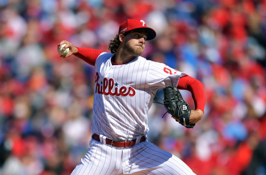 Starting pitcher Aaron Nola #27 of the Philadelphia Phillies (Photo by Drew Hallowell/Getty Images)