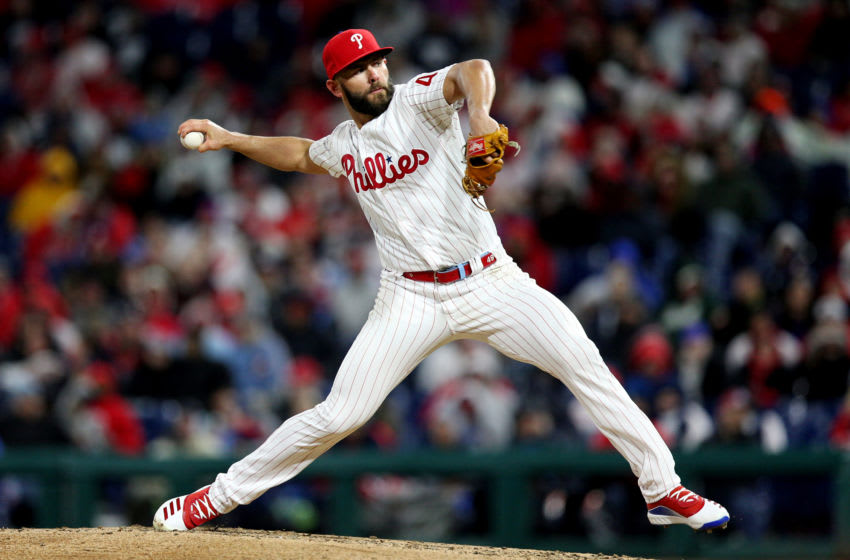 PHILADELPHIA, PA - MARCH 31: Jake Arrieta #49 of the Philadelphia Phillies pitches during the game between the Atlanta Braves and the Philadelphia Phillies at Citizens Bank Park on Sunday, March 31, 2019 in Philadelphia, Pennsylvania. (Photo by Rob Tringali/MLB Photos via Getty Images)
