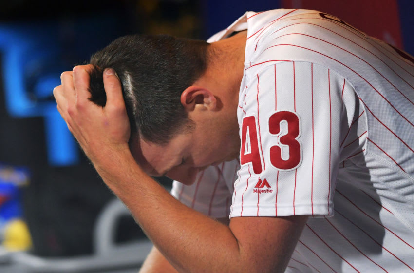 PHILADELPHIA, PA - APRIL 10: Pitcher Nick Pivetta #43 of the Philadelphia Phillies reacts in the dugout after getting pulled from the game in the fourth inning against the Washington Nationals at Citizens Bank Park on April 10, 2019 in Philadelphia, Pennsylvania. (Photo by Drew Hallowell/Getty Images)