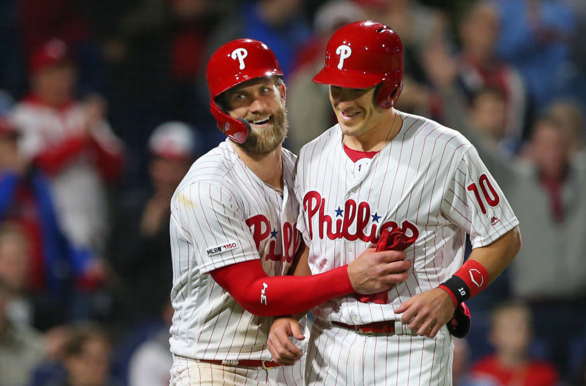 Bryce Harper #3 and J.T. Realmuto #10 of the Philadelphia Phillies (Photo by Rich Schultz/Getty Images)