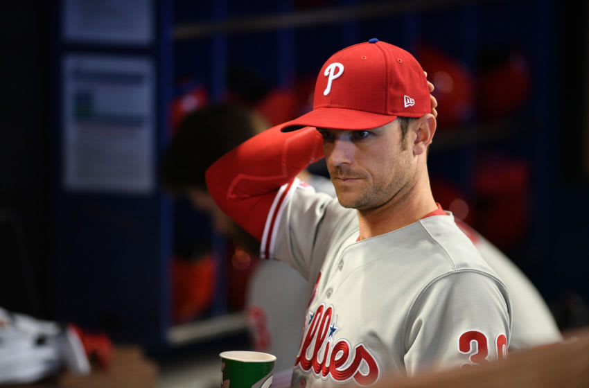 MIAMI, FL - APRIL 14: David Robertson #30 of the Philadelphia Phillies tint he dugout before the game against the Miami Marlins at Marlins Park on April 14, 2019 in Miami, Florida. (Photo by Mark Brown/Getty Images)