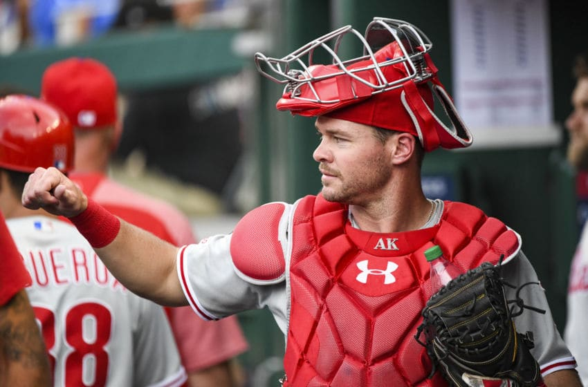 WASHINGTON, DC - JUNE 19: Philadelphia Phillies catcher Andrew Knapp (15) in action during the game between the Philadelphia Phillies and the Washington Nationals on June 19, 2019, at Nationals Park, in Washington D.C. (Photo by Mark Goldman/Icon Sportswire via Getty Images)