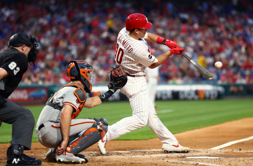 PHILADELPHIA, PA - JULY 30: Philadelphia Phillies Catcher J.T. Realmuto (10) hits in the fourth inning during the game between the San Francisco Giants and Philadelphia Phillies on July 30, 2019 at Citizens Bank Park in Philadelphia, PA. (Photo by Kyle Ross/Icon Sportswire via Getty Images)