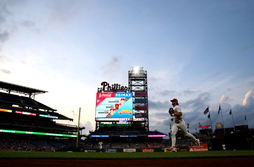 PHILADELPHIA, PA - AUGUST 16: Bryce Harper #3 of the Philadelphia Phillies heads back to the dugout between innings against the San Diego Padres at Citizens Bank Park on Friday, August 16, 2019 in Philadelphia, Pennsylvania. (Photo by Rob Tringali/MLB Photos via Getty Images)