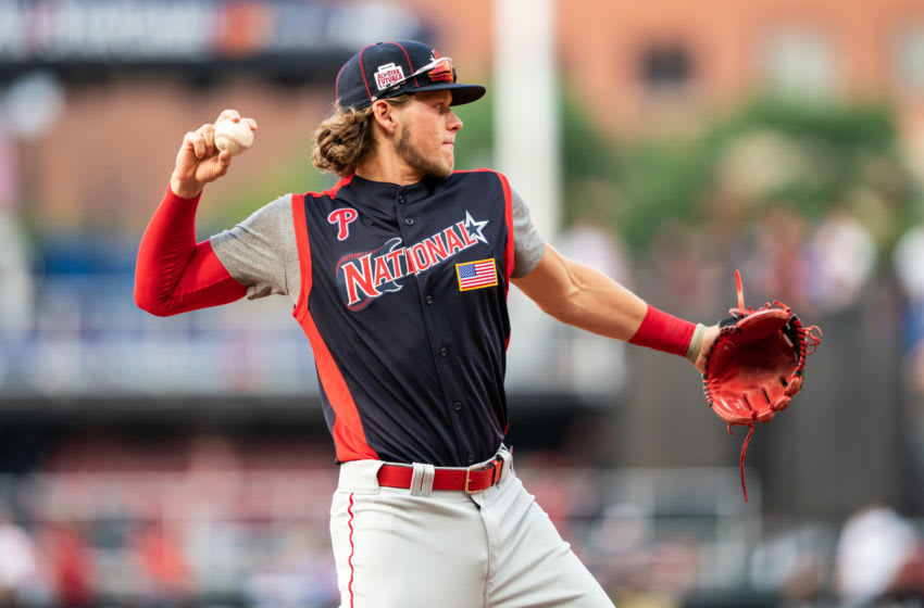 CLEVELAND, OH - JULY 07: Alec Bohm #23 of the National League Futures Team throws during the SiriusXM All-Star Futures Game on July 7, 2019 at Progressive Field in Cleveland, Ohio. (Photo by Brace Hemmelgarn/Minnesota Twins/Getty Images)