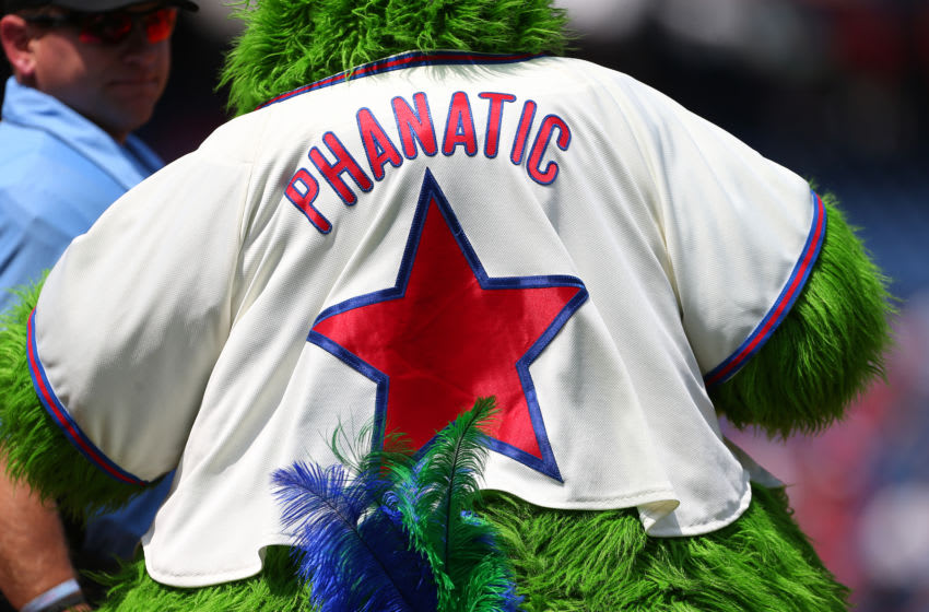 PHILADELPHIA, PA - AUGUST 04: The back of the Phillie Phanatic before a game between the Chicago White Sox and Philadelphia Phillies at Citizens Bank Park on August 4, 2019 in Philadelphia, Pennsylvania. (Photo by Rich Schultz/Getty Images)