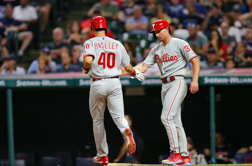 CLEVELAND, OH - SEPTEMBER 20: Philadelphia Phillies center fielder Adam Haseley (40) is congratulated by Philadelphia Phillies left fielder Brad Miller (33) after they both scored on the double hit by Philadelphia Phillies infielder Maikel Franco (7) (not pictured) during the fifth inning of the Major League Baseball interleague game between the Philidelphia Phillies and Cleveland Indians on September 20, 2019, at Progressive Field in Cleveland, OH. (Photo by Frank Jansky/Icon Sportswire via Getty Images)