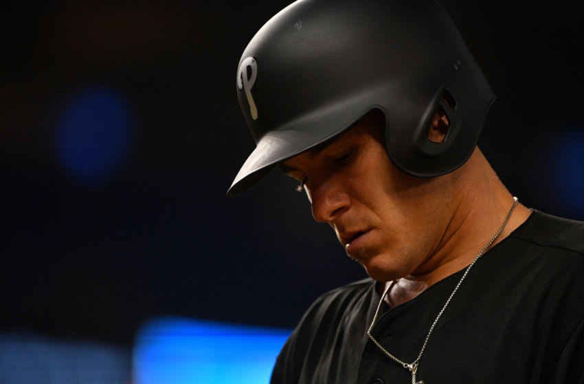 MIAMI, FL - AUGUST 23: J.T. Realmuto #10 of the Philadelphia Phillies in action against the Miami Marlins at Marlins Park on August 23, 2019 in Miami, Florida. Teams are wearing special color schemed uniforms with players choosing nicknames to display for Players' Weekend. (Photo by Mark Brown/Getty Images)