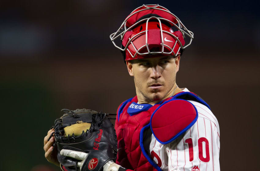 J.T. Realmuto #10 of the Philadelphia Phillies (Photo by Mitchell Leff/Getty Images)