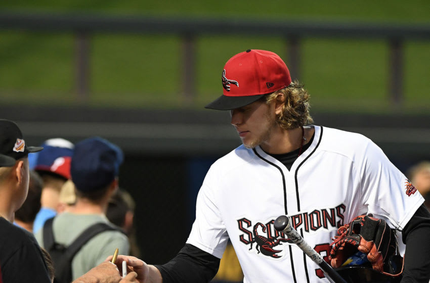 SCOTTSDALE, AZ - SEPTEMBER 25: Alec Bohm #37 of the Scottsdale Scorpions signs autographs before the game against the Aguilas de Mexicali at Salt River Fields at Talking Stick on Wednesday, September 25, 2019 in Scottsdale, Arizona. (Photo by Jill Weisleder/MLB Photos via Getty Images)