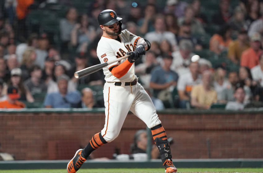 SAN FRANCISCO, CALIFORNIA - SEPTEMBER 25: Kevin Pillar #1 of the San Francisco Giants bats against the Colorado Rockies in the bottom of the fifth inning at Oracle Park on September 25, 2019 in San Francisco, California. (Photo by Thearon W. Henderson/Getty Images)