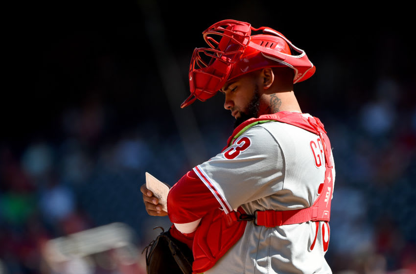 WASHINGTON, DC - SEPTEMBER 24: Deivy Grullon #73 of the Philadelphia Phillies looks on during game one of a doubleheader against the Washington Nationals at Nationals Park on September 24, 2019 in Washington, DC. (Photo by Will Newton/Getty Images)