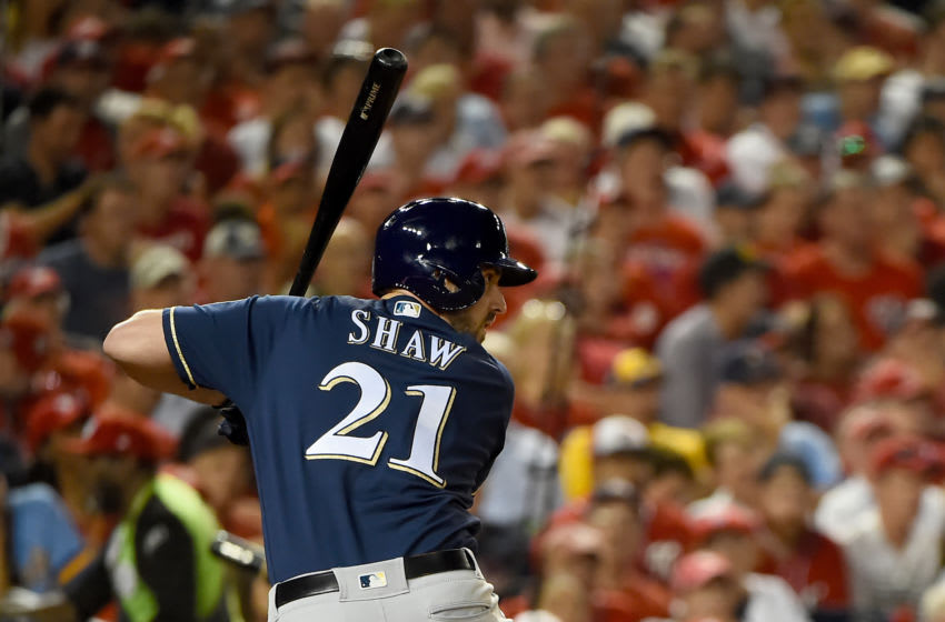 WASHINGTON, DC - OCTOBER 01: Travis Shaw #21 of the Milwaukee Brewers at bat against the Washington Nationals during the National League Wild Card game at Nationals Park on October 1, 2019 in Washington, DC. (Photo by Will Newton/Getty Images)