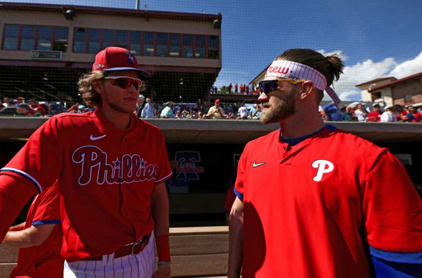 Alec Bohm and Bryce Harper of the Philadelphia Phillies (Photo by Carmen Mandato/Getty Images)