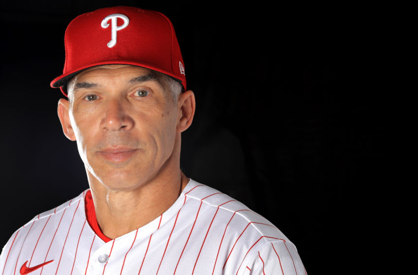 CLEARWATER, FLORIDA - FEBRUARY 19: Manager Joe Girardi #25 of the Philadelphia Phillies poses for a portrait during photo day at Spectrum Field on February 19, 2020 in Clearwater, Florida. (Photo by Mike Ehrmann/Getty Images)