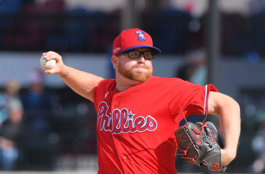 Addison Russ #69 of the Philadelphia Phillies (Photo by Mark Cunningham/MLB Photos via Getty Images)