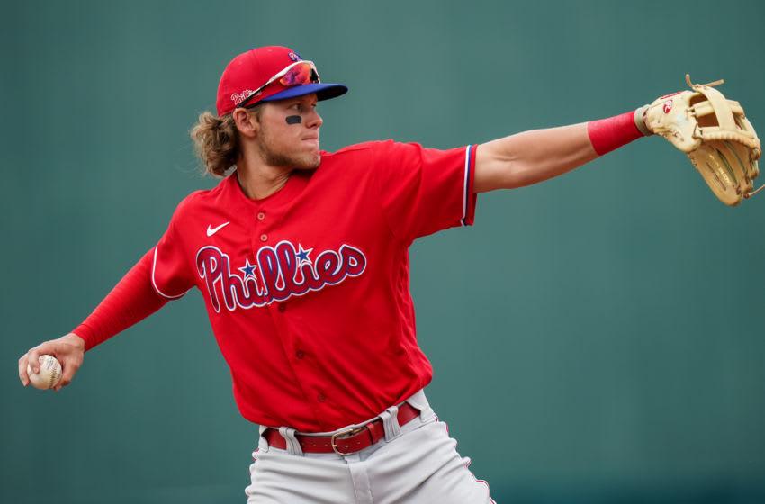 Alec Bohm #80 of the Philadelphia Phillies (Photo by Brace Hemmelgarn/Minnesota Twins/Getty Images)