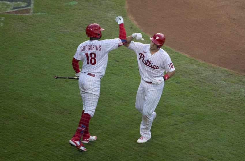 J.T. Realmuto #10 and Didi Gregorius #18 (Photo by Mitchell Leff/Getty Images)