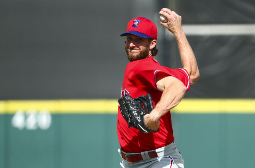 Bryan Mitchell #65 of the Philadelphia Phillies (Photo by Kevin Sabitus/Getty Images)