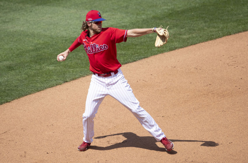 Alec Bohm #80 of the Philadelphia Phillies (Photo by Mitchell Leff/Getty Images)
