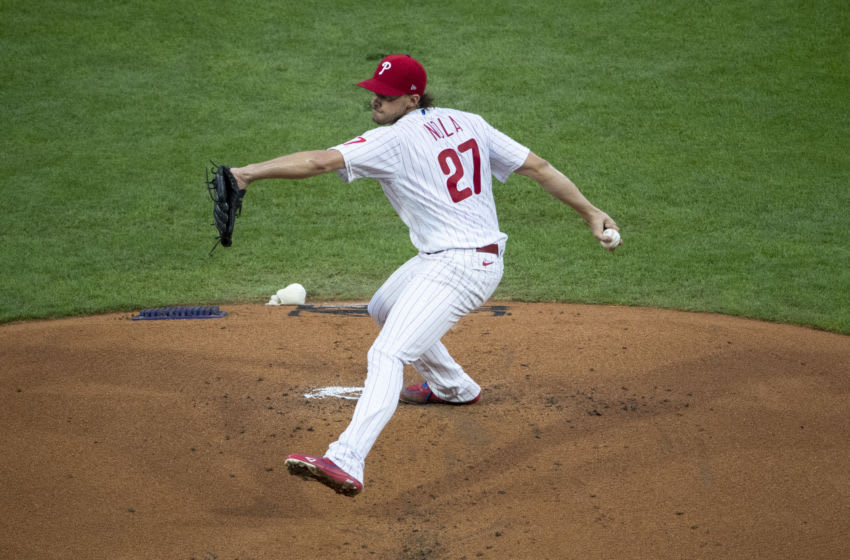 Aaron Nola #27 of the Philadelphia Phillies (Photo by Mitchell Leff/Getty Images)