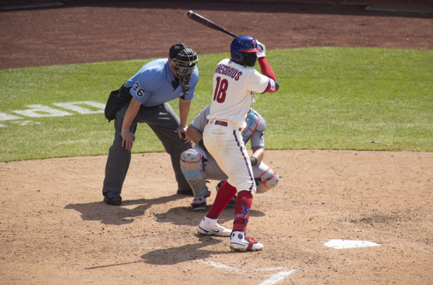 Didi Gregorius #18 of the Philadelphia Phillies (Photo by Mitchell Leff/Getty Images)