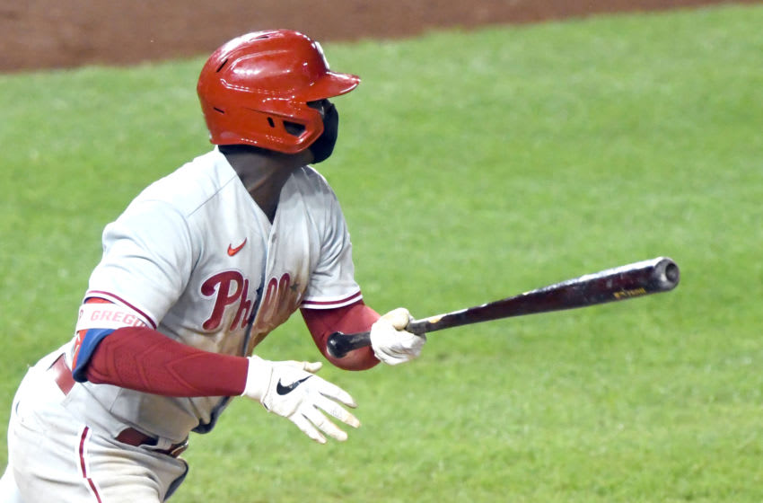 Didi Gregorius #18 of the Philadelphia Phillies (Photo by Mitchell Layton/Getty Images)