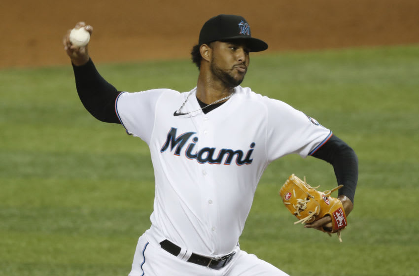 Johan Quezada #77 of the Miami Marlins (Photo by Michael Reaves/Getty Images)