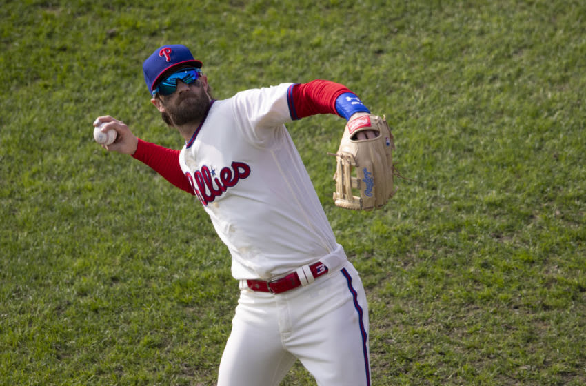 Bryce Harper #3 of the Philadelphia Phillies (Photo by Mitchell Leff/Getty Images)