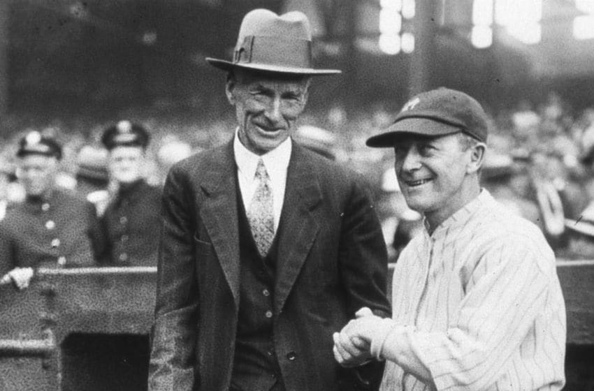 Connie Mack, left, manager of the Philadelphia Athletics and Miller Huggins, manager of the New York Yankees in 1926. (Photo Reproduction by Transcendental Graphics/Getty Images)