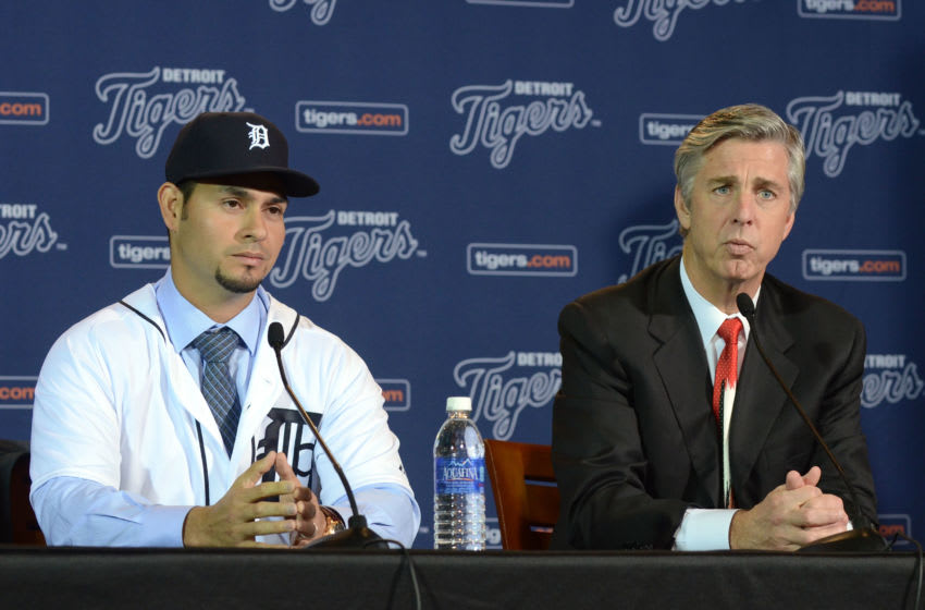 Dave Dombrowski and Anibal Sanchez #19 of the Detroit Tigers (Photo by Mark Cunningham/MLB Photos via Getty Images)